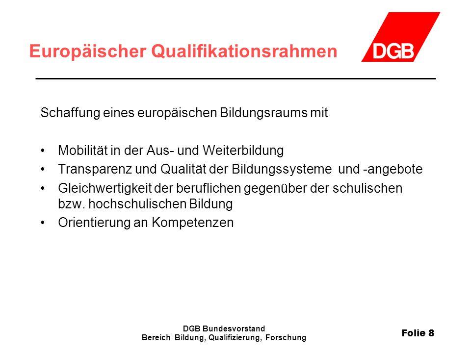 Folie 8 DGB Bundesvorstand Bereich Bildung, Qualifizierung, Forschung Europäischer Qualifikationsrahmen Schaffung eines europäischen Bildungsraums mit