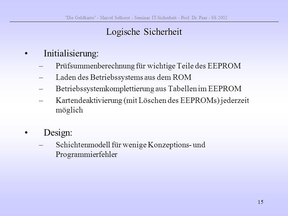 15 Logische Sicherheit Initialisierung: –Prüfsummenberechnung für wichtige Teile des EEPROM –Laden des Betriebssystems aus dem ROM –Betriebssystemkomp