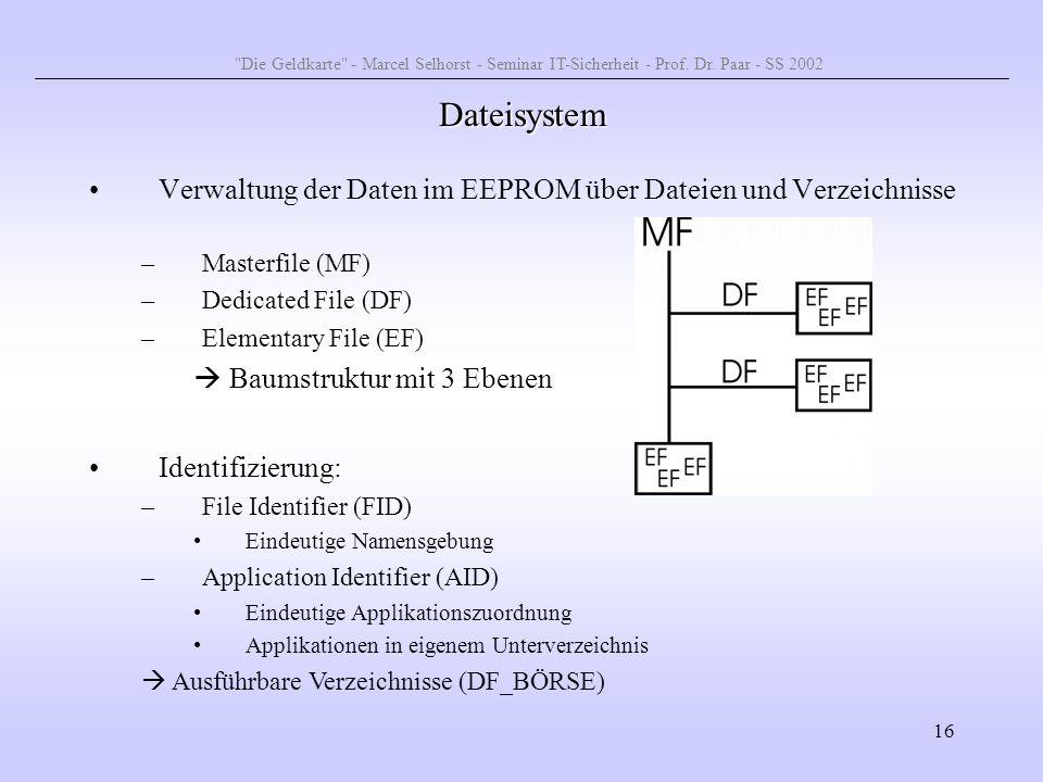 16 Dateisystem Verwaltung der Daten im EEPROM über Dateien und Verzeichnisse –Masterfile (MF) –Dedicated File (DF) –Elementary File (EF) Baumstruktur