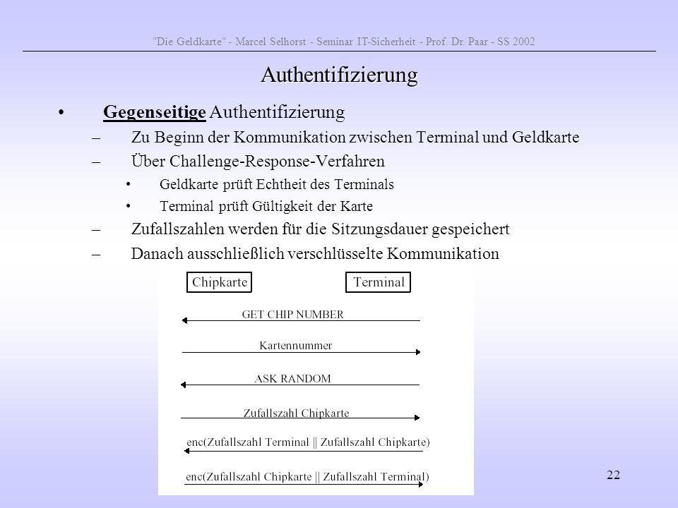 22 Authentifizierung Gegenseitige Authentifizierung –Zu Beginn der Kommunikation zwischen Terminal und Geldkarte –Über Challenge-Response-Verfahren Ge