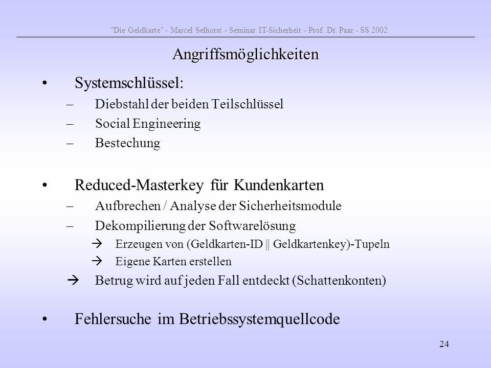 24 Angriffsmöglichkeiten Systemschlüssel: –Diebstahl der beiden Teilschlüssel –Social Engineering –Bestechung Reduced-Masterkey für Kundenkarten –Aufb