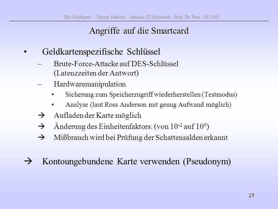 25 Angriffe auf die Smartcard Geldkartenspezifische Schlüssel –Brute-Force-Attacke auf DES-Schlüssel (Latenzzeiten der Antwort) –Hardwaremanipulation