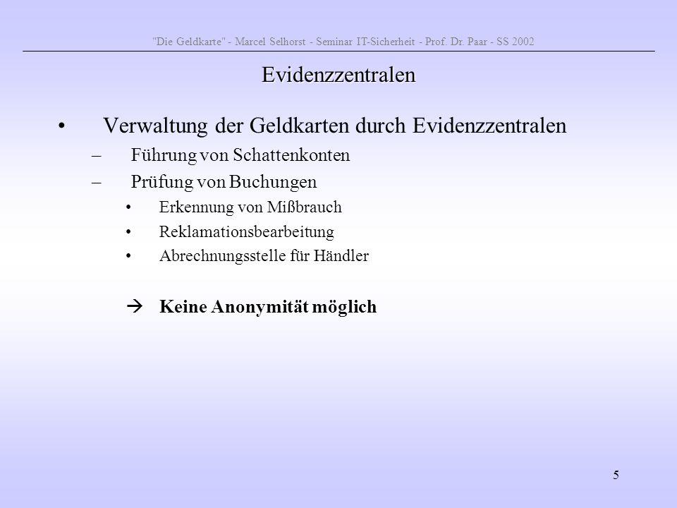 16 Dateisystem Verwaltung der Daten im EEPROM über Dateien und Verzeichnisse –Masterfile (MF) –Dedicated File (DF) –Elementary File (EF) Baumstruktur mit 3 Ebenen Die Geldkarte - Marcel Selhorst - Seminar IT-Sicherheit - Prof.