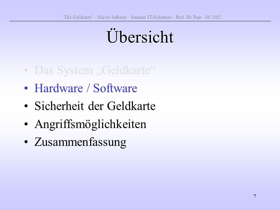 7 Übersicht Das System Geldkarte Hardware / Software Sicherheit der Geldkarte Angriffsmöglichkeiten Zusammenfassung