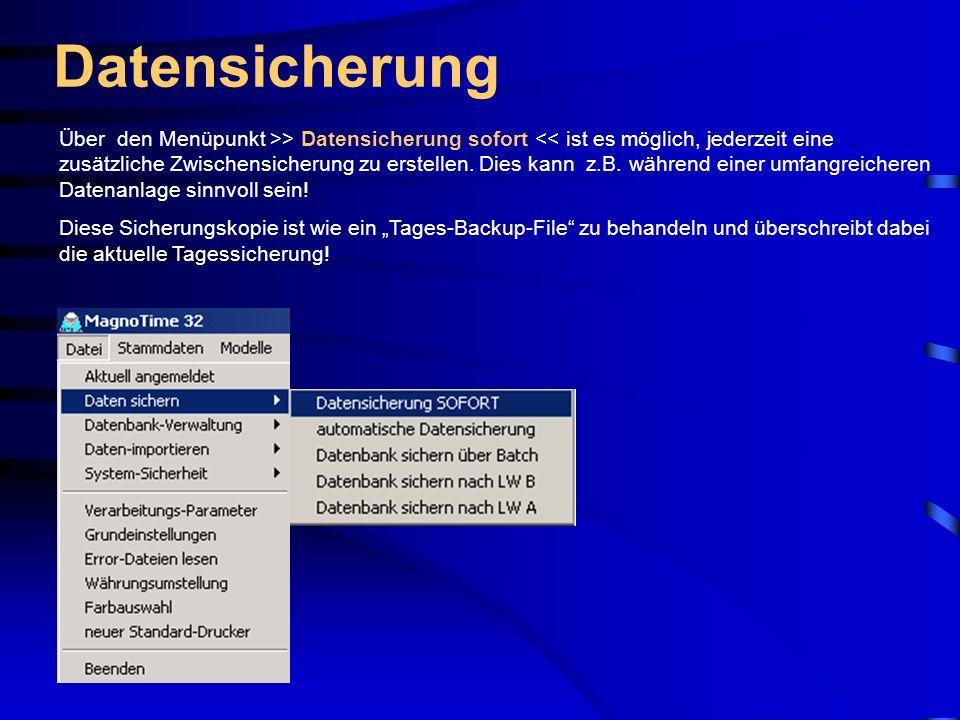 Stammdaten – Statistik-Titel MagnoTime 32 verwaltet insgesamt 10 Statistikkonten.