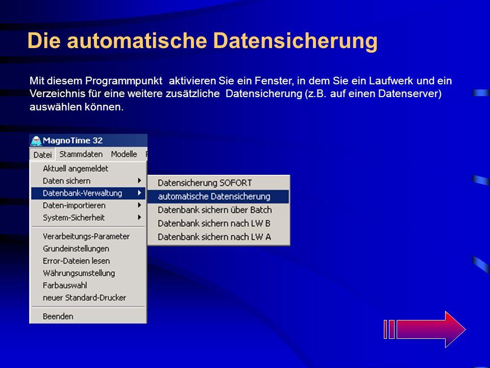 Programm-Ende Über diesen Menüpunkt können Sie nach einer Sicherheitsabfrage das Programm MagnoTime 32 beenden.