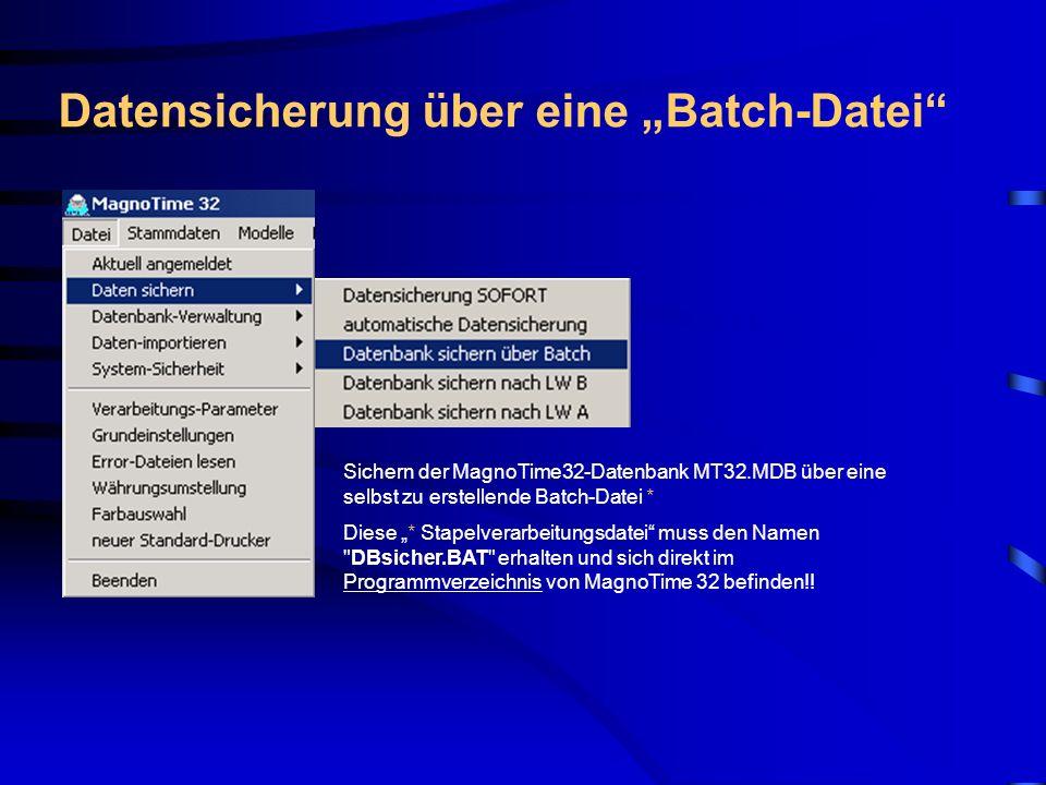 Datensicherung nach Laufwerk B / A Datenbank sichern nach LW A/ B Sichern der Datenbank-Datei MT32.MDB nach Laufwerk A: oder B: (soweit die Datenbank die Kapazität des Laufwerks B: nicht überschreitet).