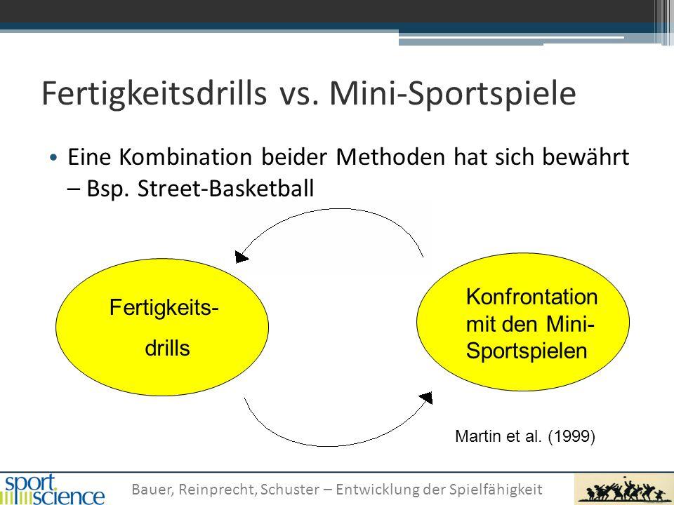 Bauer, Reinprecht, Schuster – Entwicklung der Spielfähigkeit Fertigkeitsdrills vs. Mini-Sportspiele Eine Kombination beider Methoden hat sich bewährt