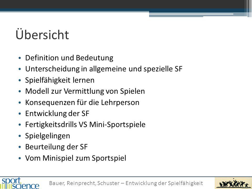 Bauer, Reinprecht, Schuster – Entwicklung der Spielfähigkeit Übersicht Definition und Bedeutung Unterscheidung in allgemeine und spezielle SF Spielfäh