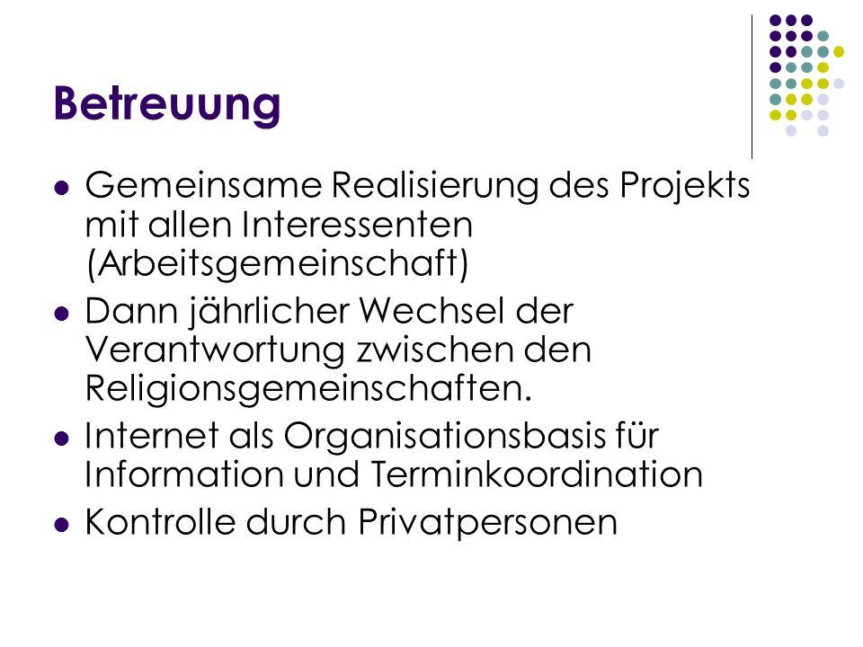 Betreuung Gemeinsame Realisierung des Projekts mit allen Interessenten (Arbeitsgemeinschaft) Dann jährlicher Wechsel der Verantwortung zwischen den Re