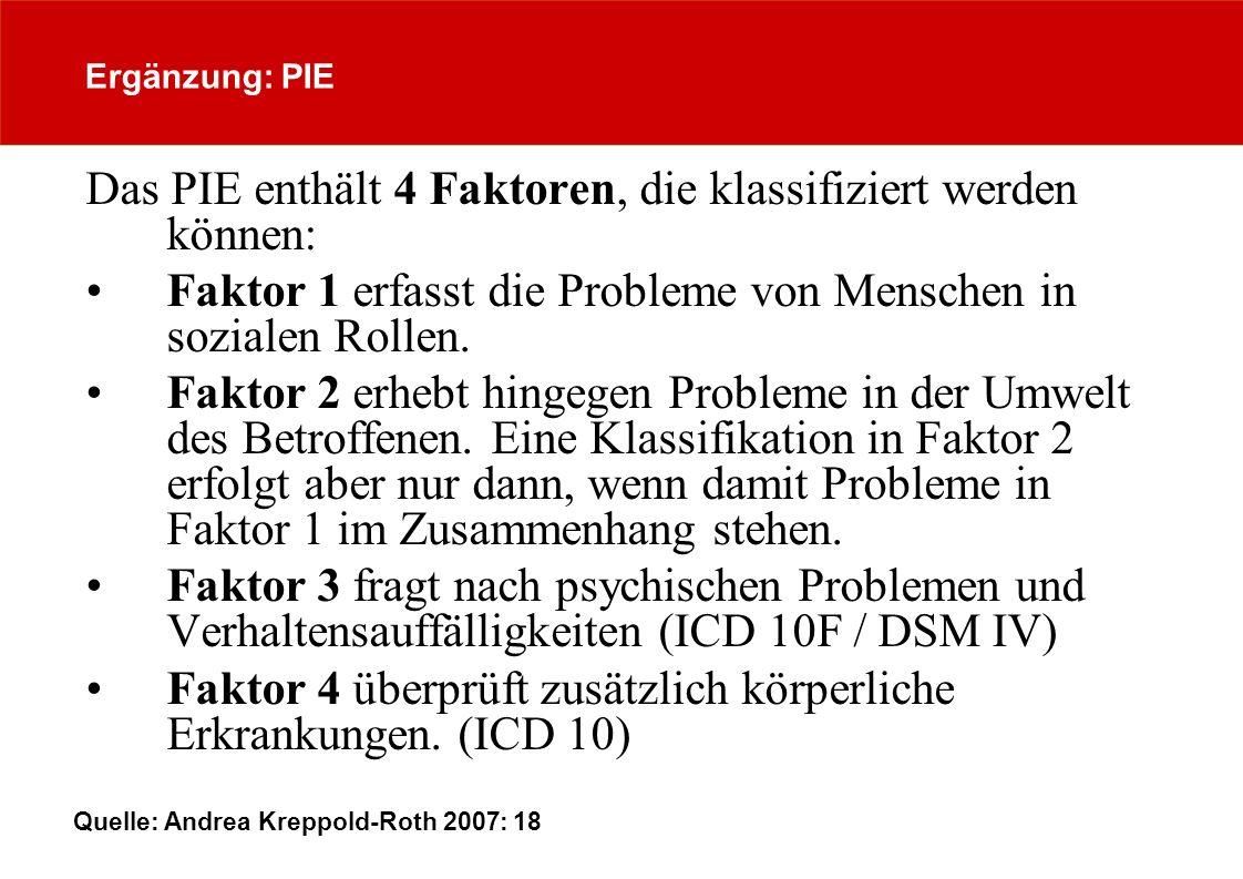 Ergänzung: PIE Das PIE enthält 4 Faktoren, die klassifiziert werden können: Faktor 1 erfasst die Probleme von Menschen in sozialen Rollen. Faktor 2 er