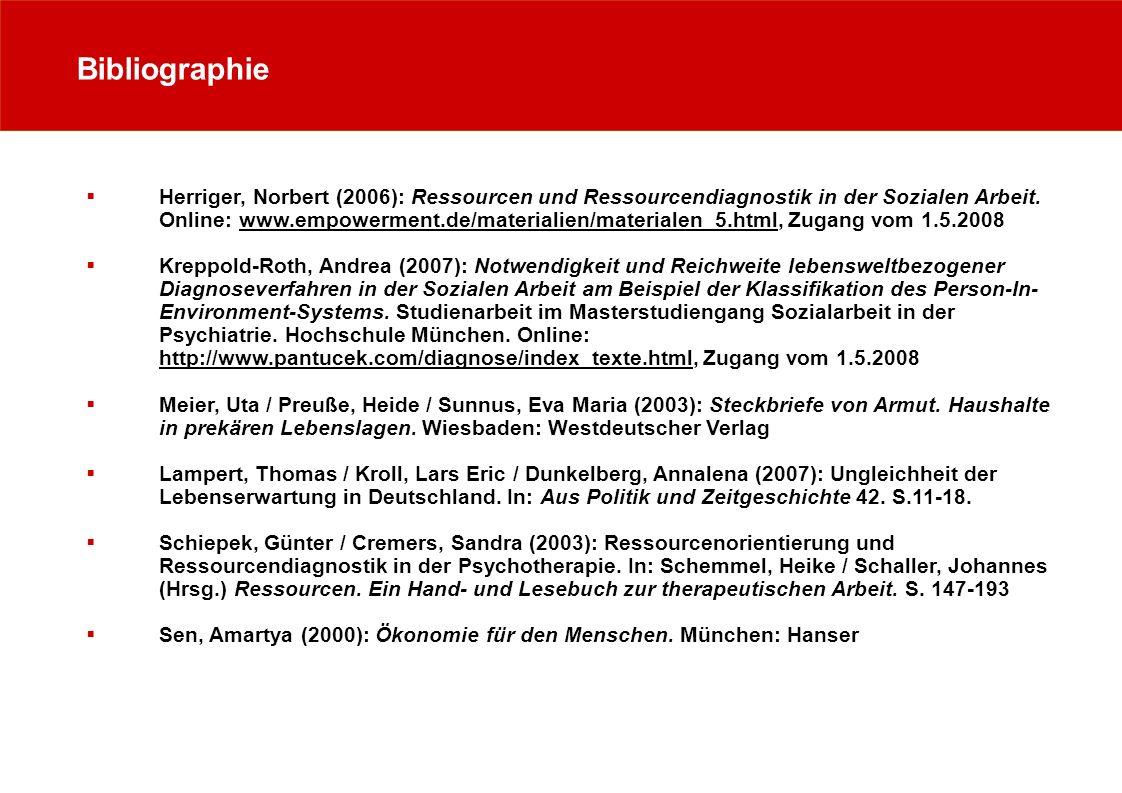 Bibliographie Herriger, Norbert (2006): Ressourcen und Ressourcendiagnostik in der Sozialen Arbeit. Online: www.empowerment.de/materialien/materialen_