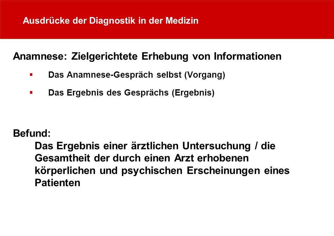 Ausdrücke der Diagnostik in der Medizin Anamnese: Zielgerichtete Erhebung von Informationen Das Anamnese-Gespräch selbst (Vorgang) Das Ergebnis des Ge