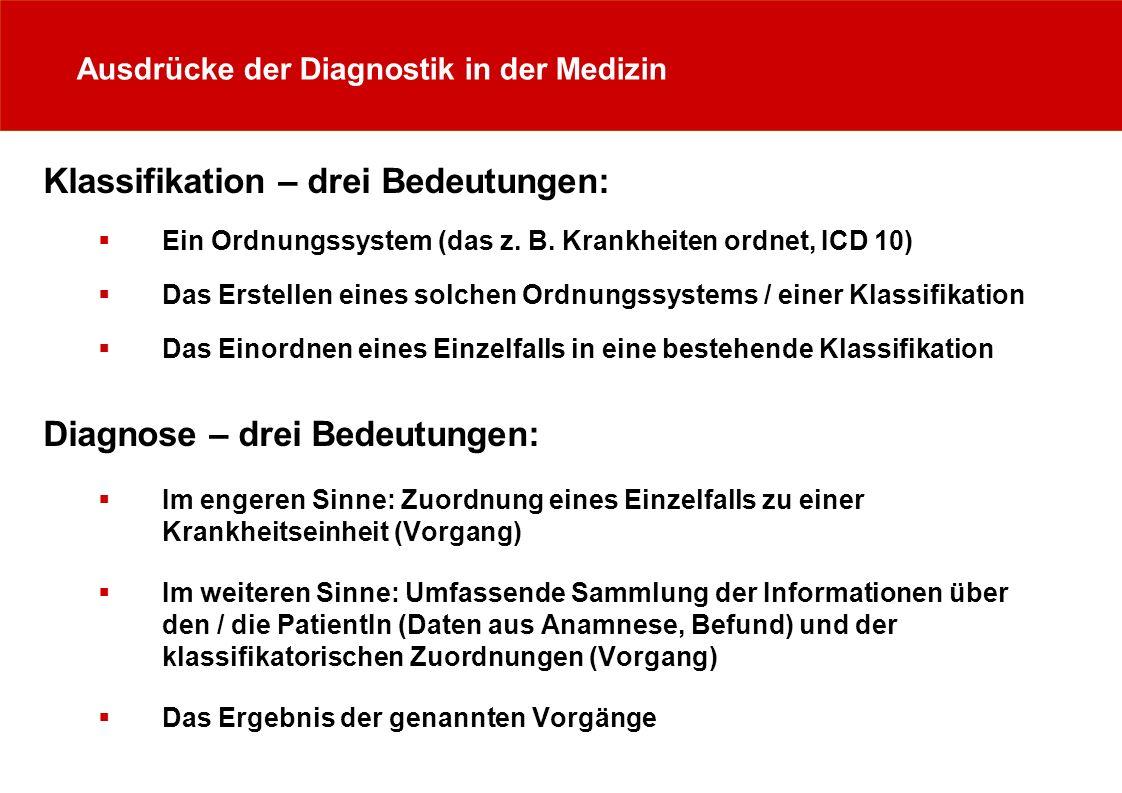 Ausdrücke der Diagnostik in der Medizin Klassifikation – drei Bedeutungen: Ein Ordnungssystem (das z. B. Krankheiten ordnet, ICD 10) Das Erstellen ein