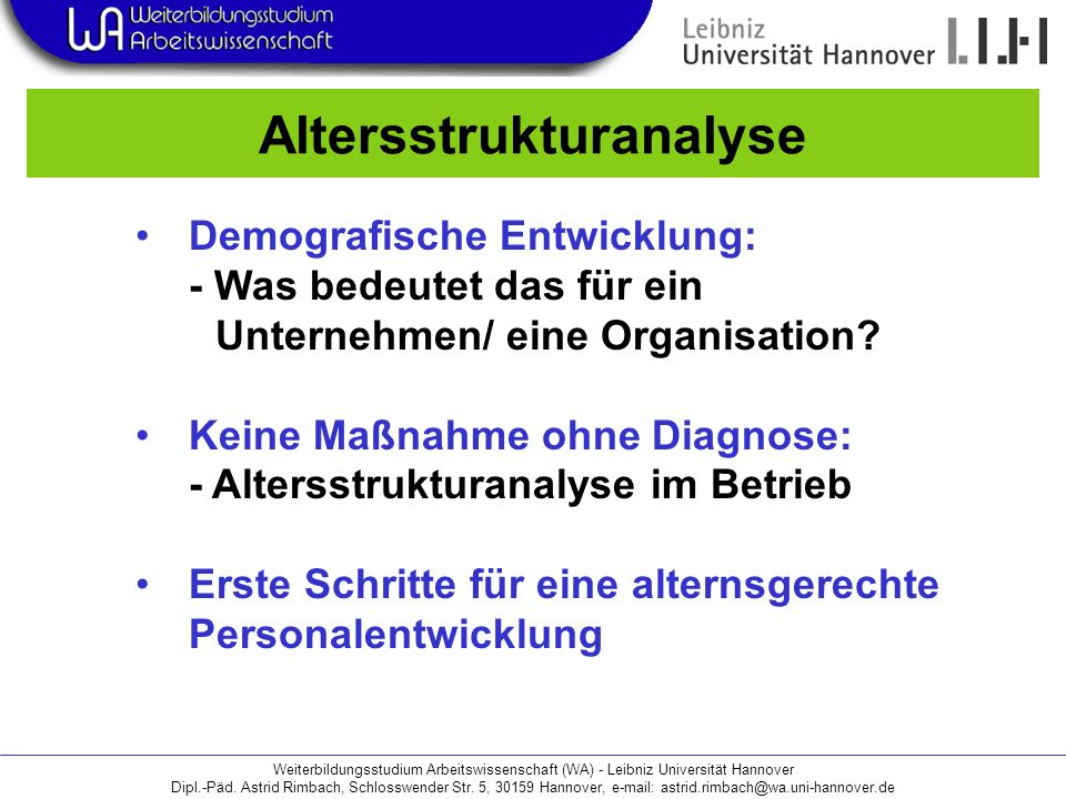 Weiterbildungsstudium Arbeitswissenschaft (WA) - Leibniz Universität Hannover Dipl.-Päd.
