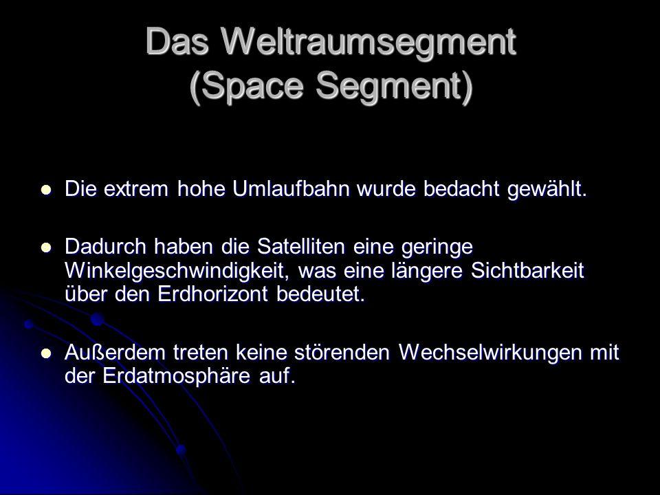 Das Weltraumsegment (Space Segment) Die extrem hohe Umlaufbahn wurde bedacht gewählt. Die extrem hohe Umlaufbahn wurde bedacht gewählt. Dadurch haben