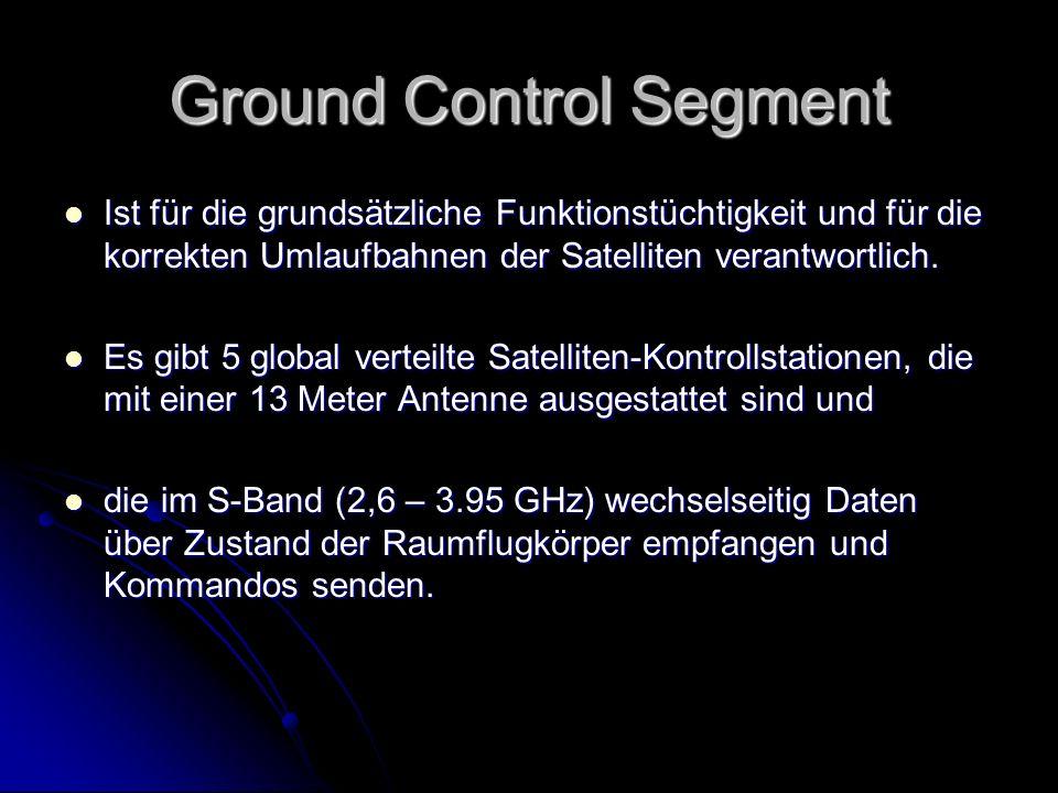 Ground Control Segment Ist für die grundsätzliche Funktionstüchtigkeit und für die korrekten Umlaufbahnen der Satelliten verantwortlich. Ist für die g
