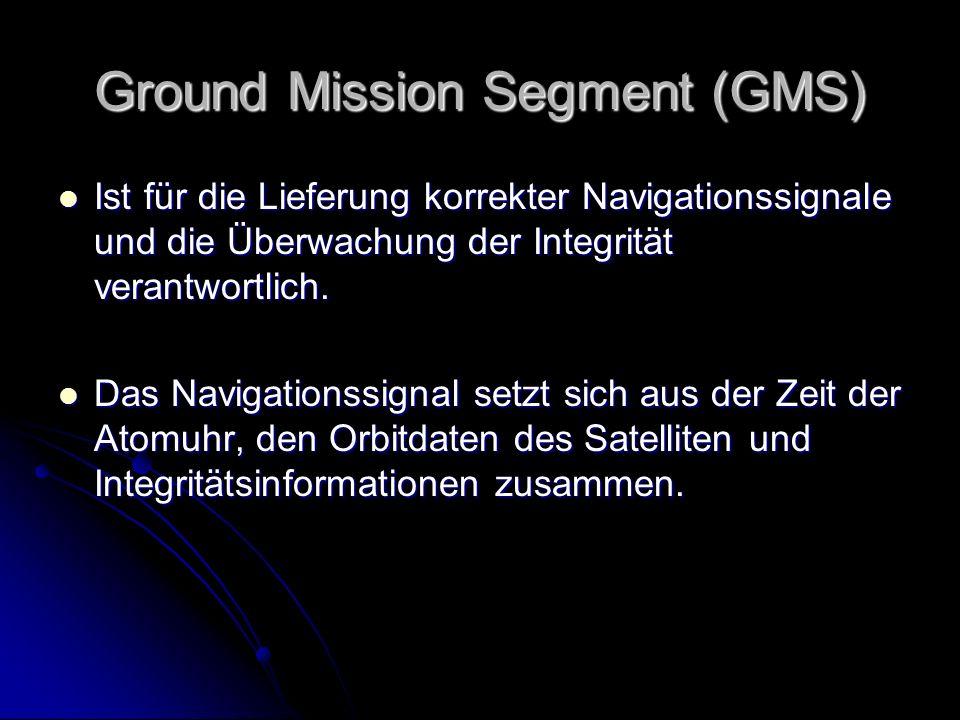 Ground Mission Segment (GMS) Ist für die Lieferung korrekter Navigationssignale und die Überwachung der Integrität verantwortlich. Ist für die Lieferu