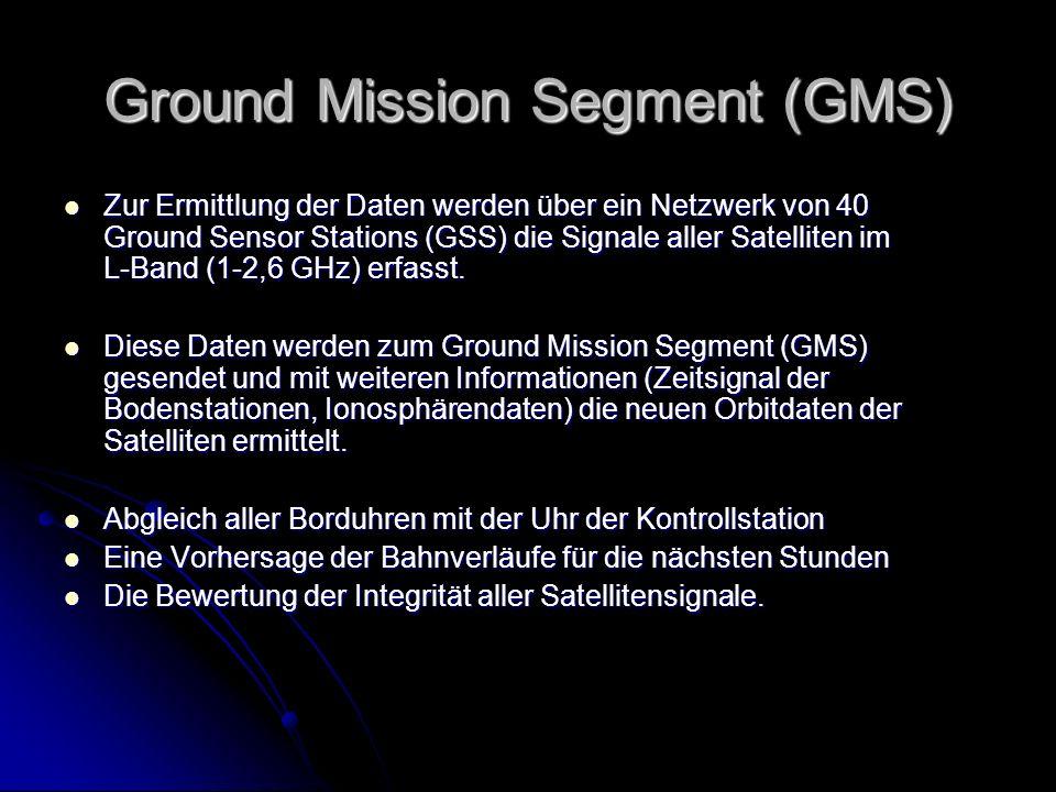 Ground Mission Segment (GMS) Zur Ermittlung der Daten werden über ein Netzwerk von 40 Ground Sensor Stations (GSS) die Signale aller Satelliten im L-B