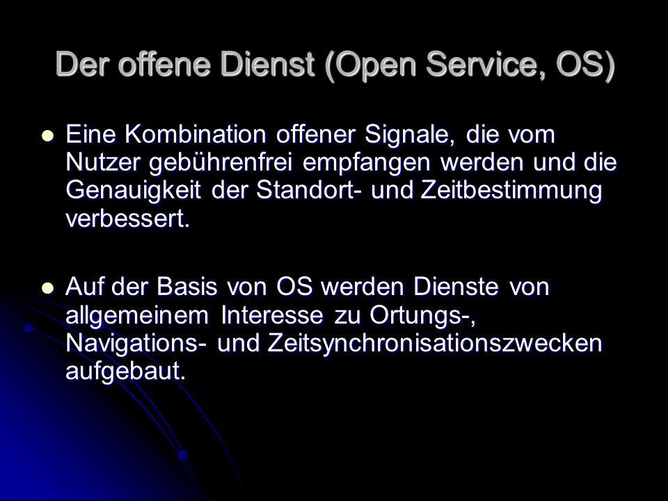 Der offene Dienst (Open Service, OS) Eine Kombination offener Signale, die vom Nutzer gebührenfrei empfangen werden und die Genauigkeit der Standort-