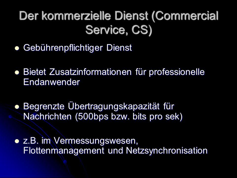 Der kommerzielle Dienst (Commercial Service, CS) Gebührenpflichtiger Dienst Gebührenpflichtiger Dienst Bietet Zusatzinformationen für professionelle E
