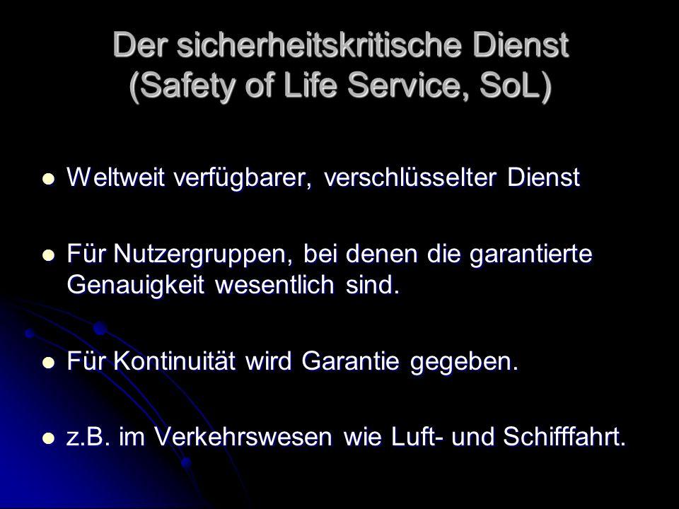 Der sicherheitskritische Dienst (Safety of Life Service, SoL) Weltweit verfügbarer, verschlüsselter Dienst Weltweit verfügbarer, verschlüsselter Diens