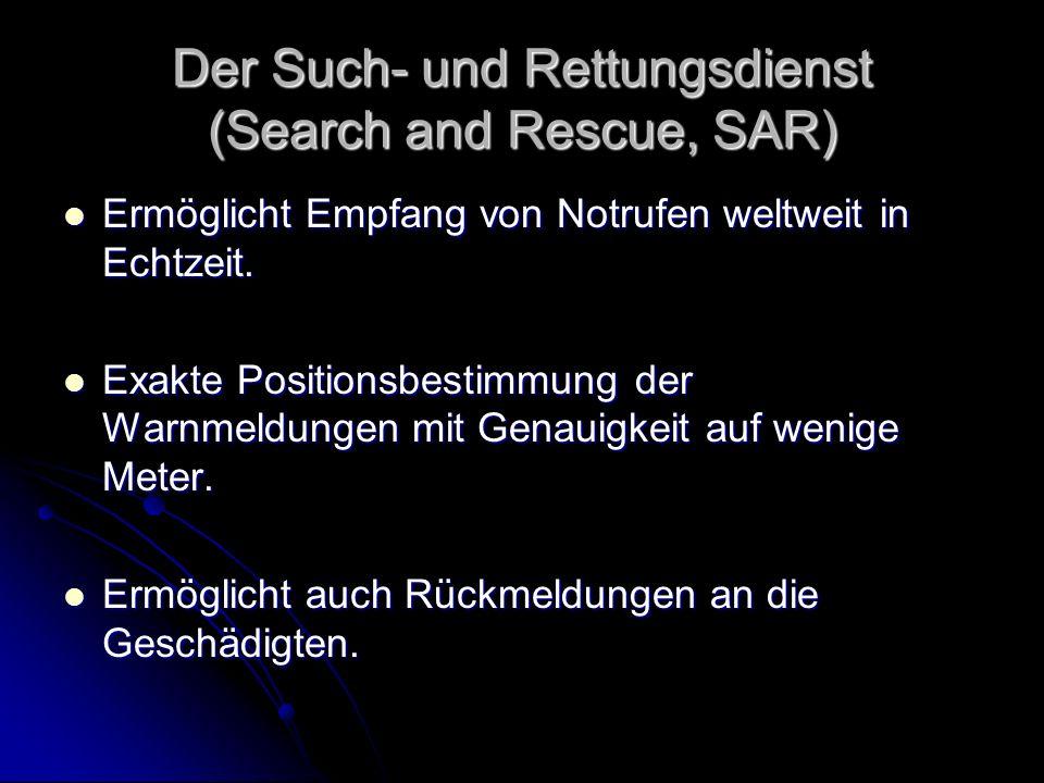 Der Such- und Rettungsdienst (Search and Rescue, SAR) Ermöglicht Empfang von Notrufen weltweit in Echtzeit. Ermöglicht Empfang von Notrufen weltweit i