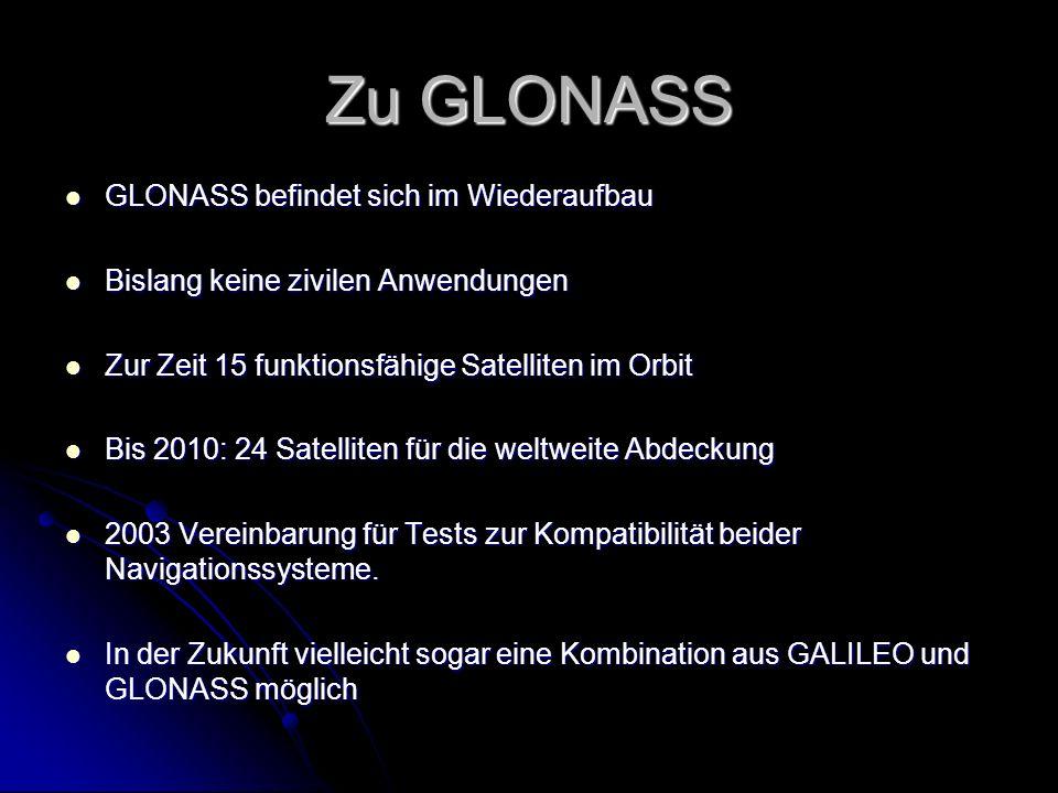Zu GLONASS GLONASS befindet sich im Wiederaufbau GLONASS befindet sich im Wiederaufbau Bislang keine zivilen Anwendungen Bislang keine zivilen Anwendu