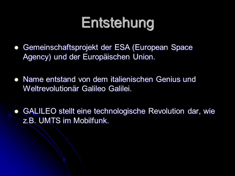 Entstehung Gemeinschaftsprojekt der ESA (European Space Agency) und der Europäischen Union. Gemeinschaftsprojekt der ESA (European Space Agency) und d