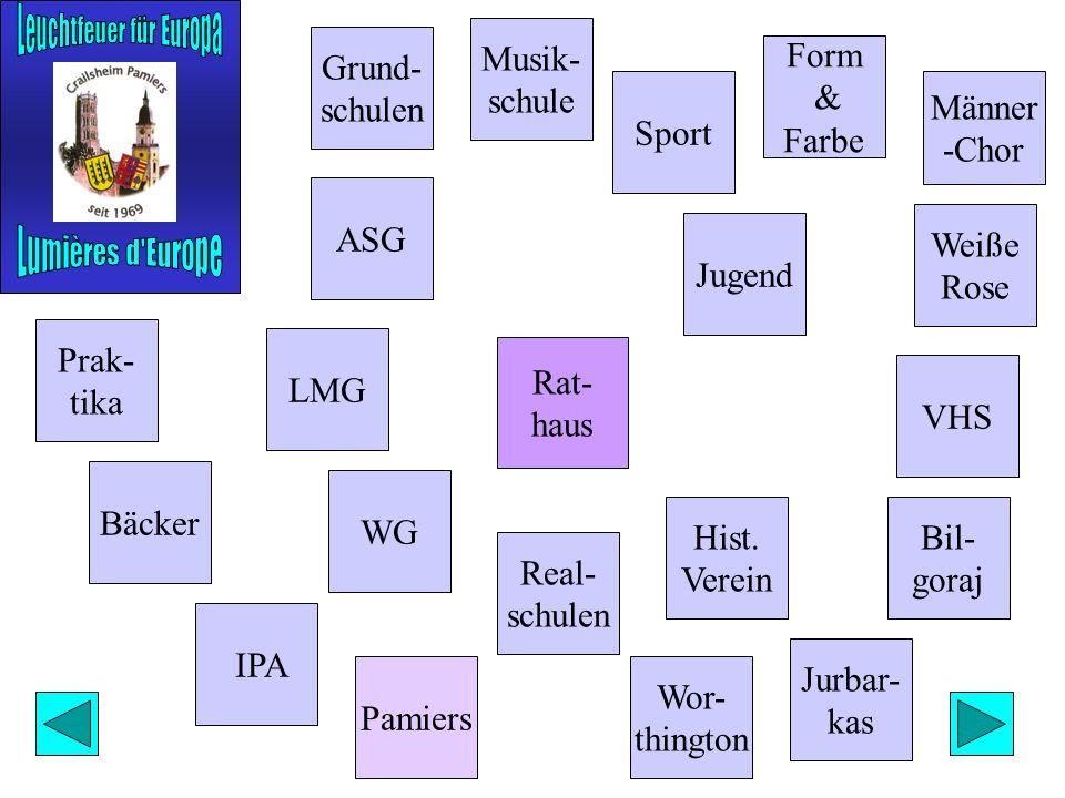 Grund- schulen Männer -Chor Form & Farbe Bäcker ASG WG Real- schulen Musik- schule Weiße Rose Jugend VHS Bil- goraj Rat- haus Hist.