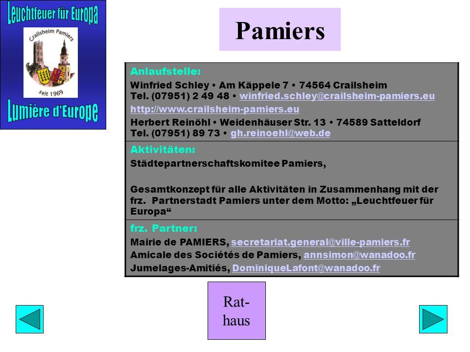 Rat- haus Bilgoraj Anlaufstelle: Manfred Salinger Karl-von-Horlacher-Str. 12 74564 Crailsheim Tel. (07951) 78 45 manfred_salinger@eurpoe.pall.com manf