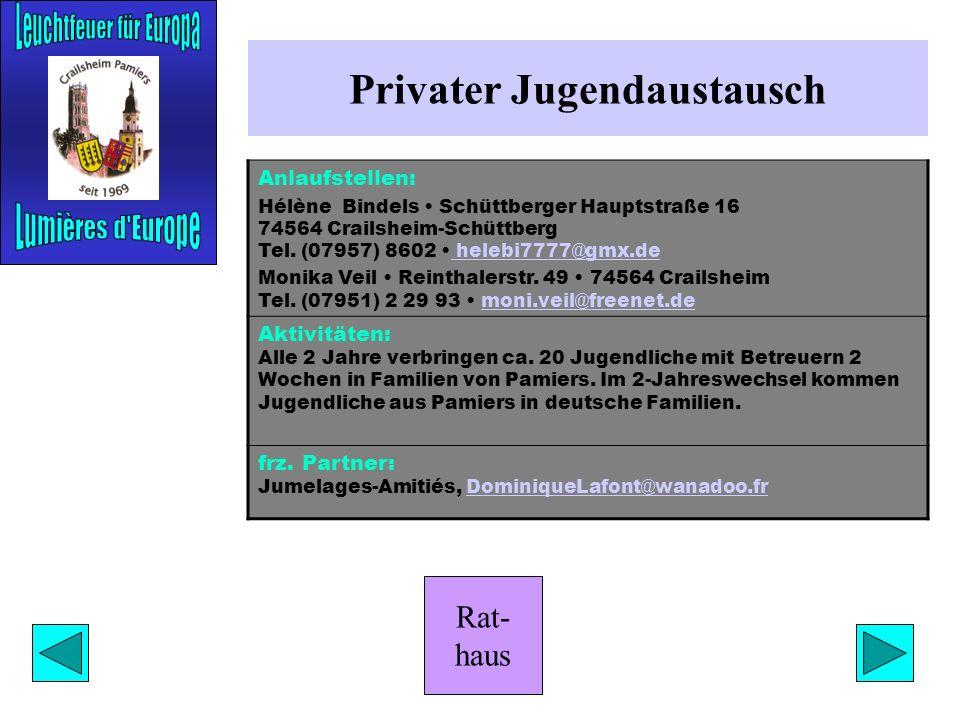 Rat- haus Sportaustausch Anlaufstellen: Klaus-Dieter Gebhardt Ölbergstr. 15 74564 Crailsheim Tel. (07951) 4 22 20 K-D.MGebhardt@t-online.deK-D.MGebhar
