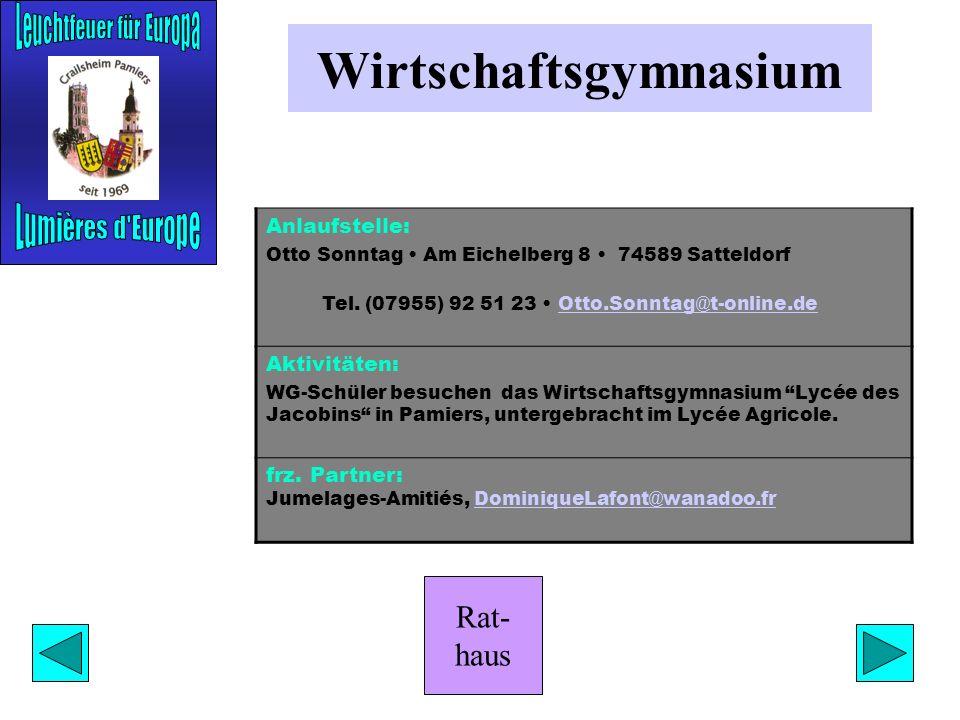 Rat- haus Historischer Verein Anlaufstelle: Herbert Holl Marktplatz 1 74564 Crailsheim Tel. (07951) 403-301 Aktivitäten: Vorträge zur Stadt- und Heima