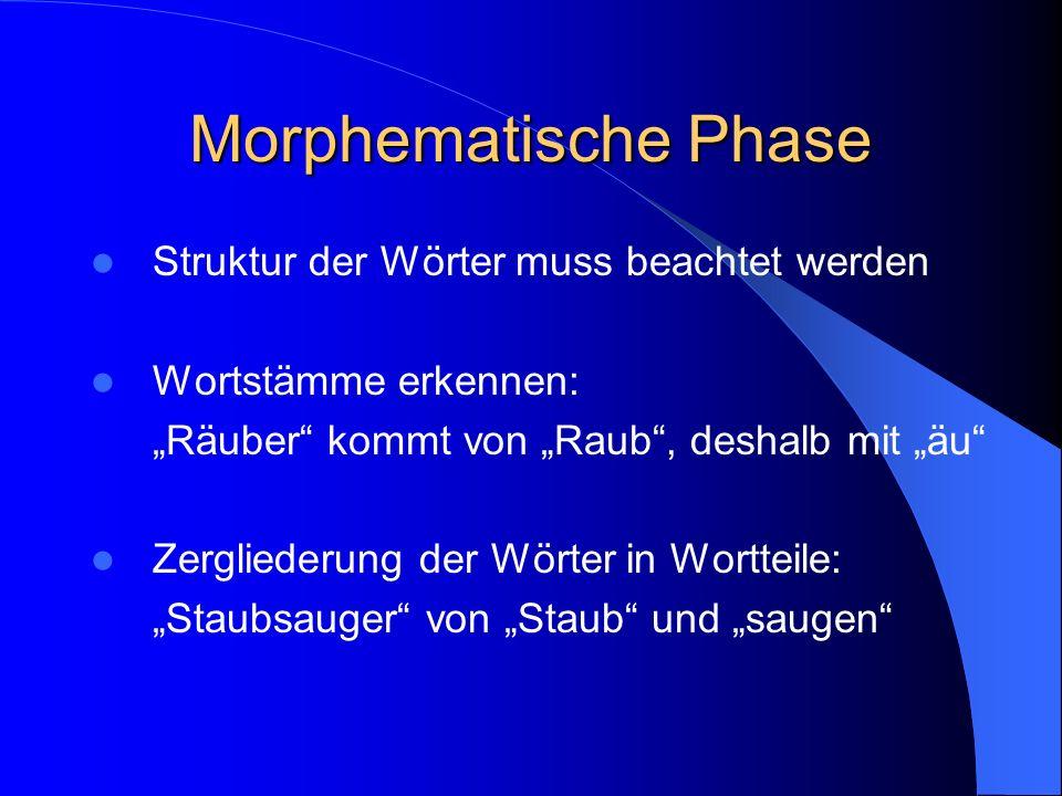 Orthographische Phase Alphabetische Phase sollte sicher beherrscht werden Einfache Rechtschreibregeln Merkelemente (z.B. Mutter mit zwei t, Vater mit