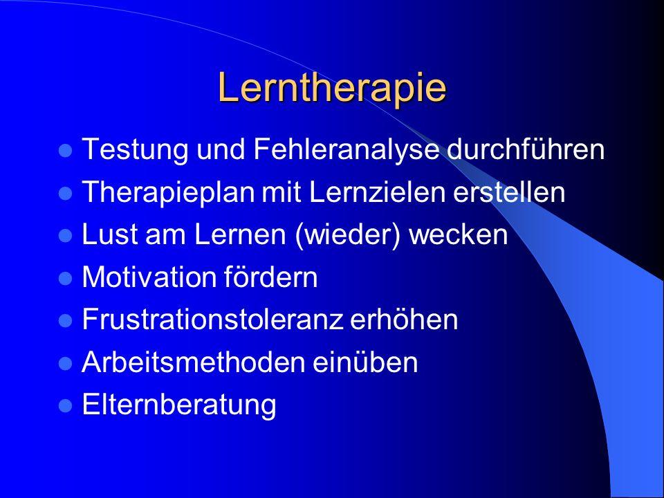 Legasthenie-Therapie Durch anerkannte Therapeuten mit spezieller Ausbildung, meist Lehrer, Sozialpädagogen, Ergotherapeuten, Logopäden, Lerntherapeute