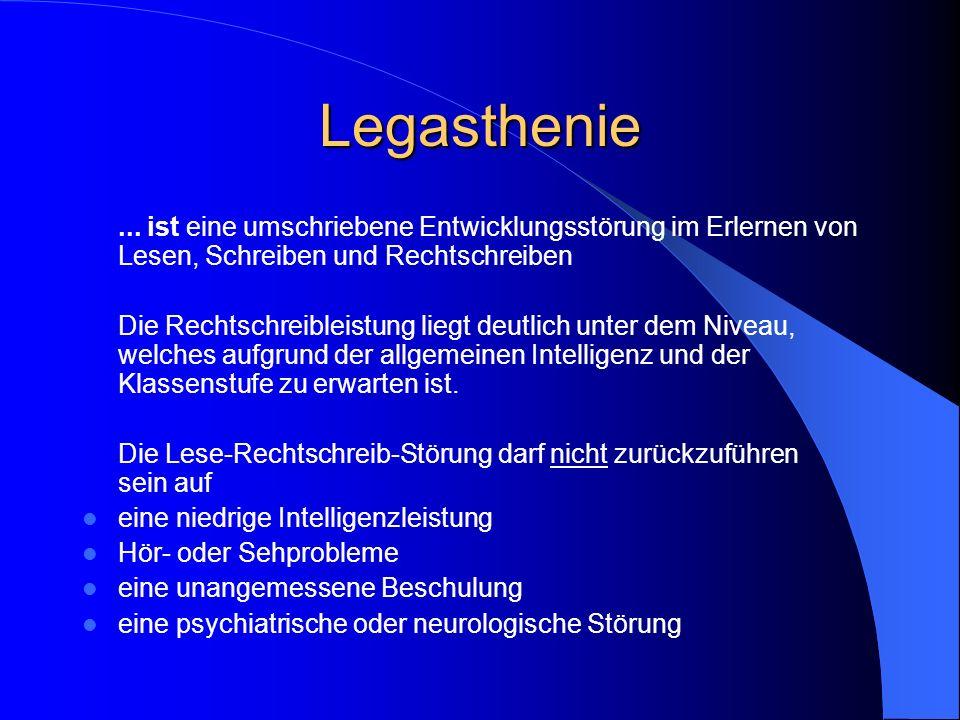 Was ist eine Legasthenie? Eine Definition für die Schule: Lese-Rechtschreib-Schwächen (Legasthenien) sind die in der Schule auffallenden Erscheinungsb