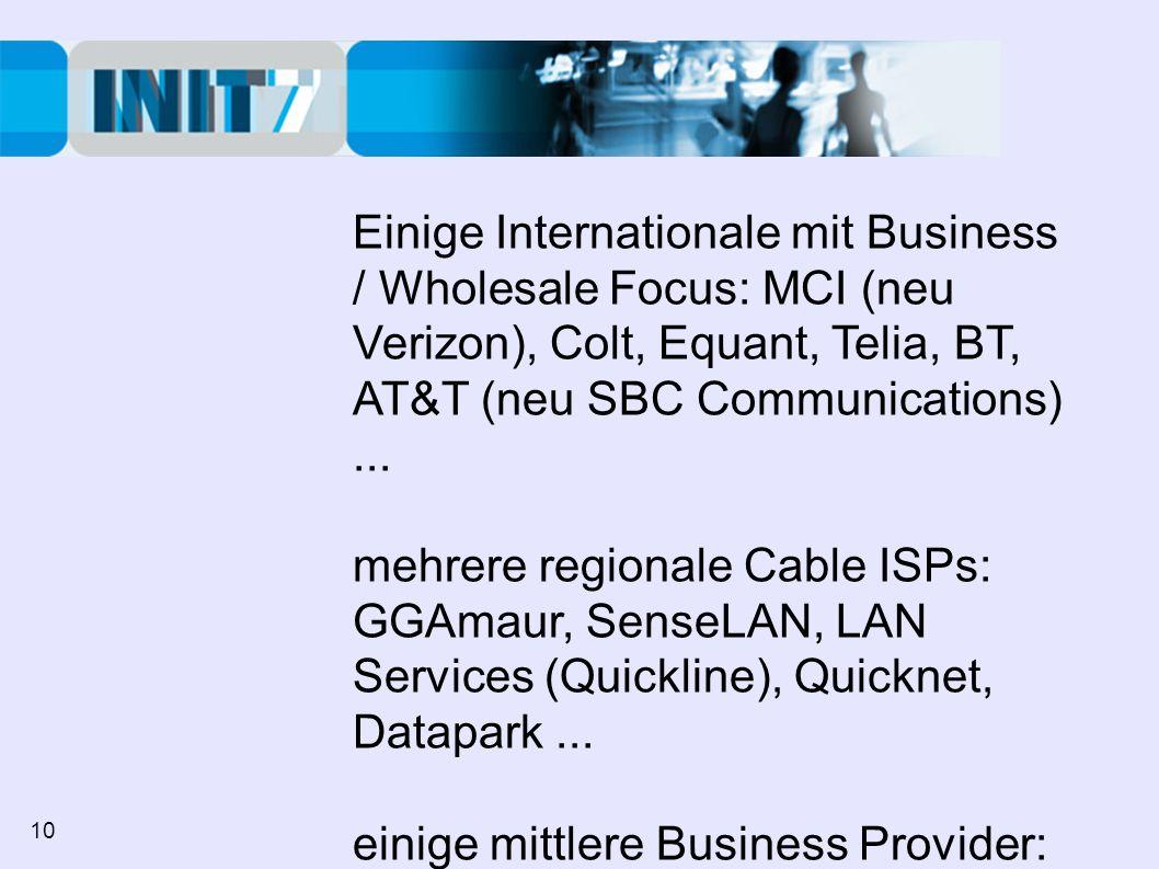 Einige Internationale mit Business / Wholesale Focus: MCI (neu Verizon), Colt, Equant, Telia, BT, AT&T (neu SBC Communications)...