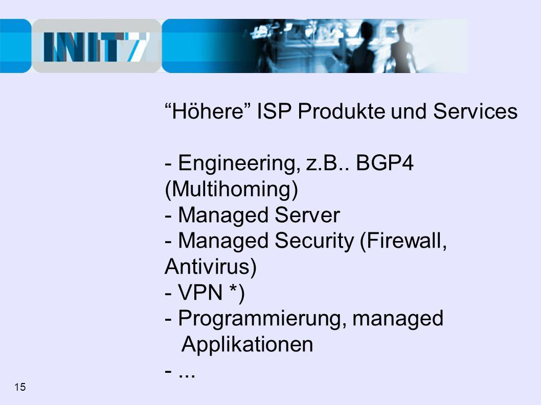 Höhere ISP Produkte und Services - Engineering, z.B.. BGP4 (Multihoming) - Managed Server - Managed Security (Firewall, Antivirus) - VPN *) - Programm