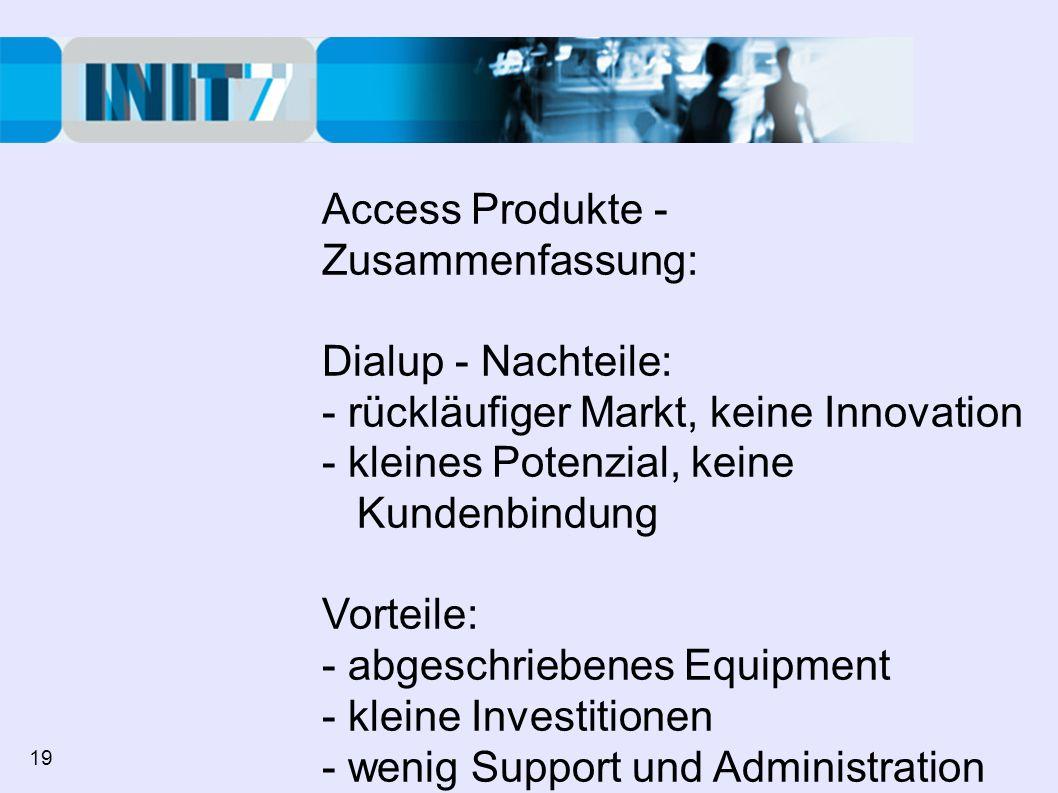 Access Produkte - Zusammenfassung: Dialup - Nachteile: - rückläufiger Markt, keine Innovation - kleines Potenzial, keine Kundenbindung Vorteile: - abgeschriebenes Equipment - kleine Investitionen - wenig Support und Administration (keine Rechnungsstellung / Kickback) 19