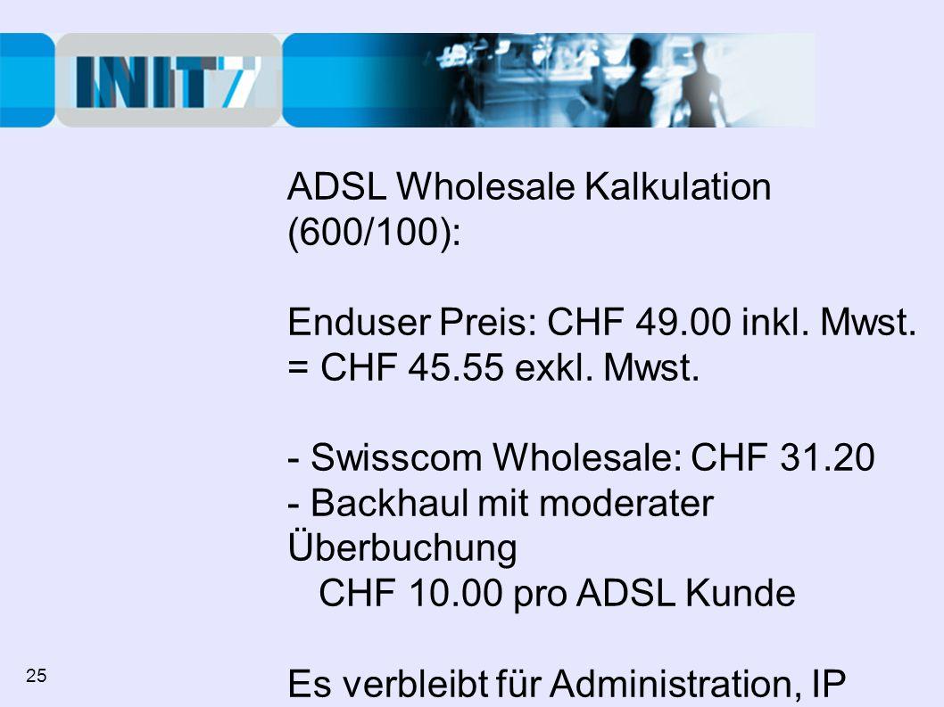 ADSL Wholesale Kalkulation (600/100): Enduser Preis: CHF 49.00 inkl.
