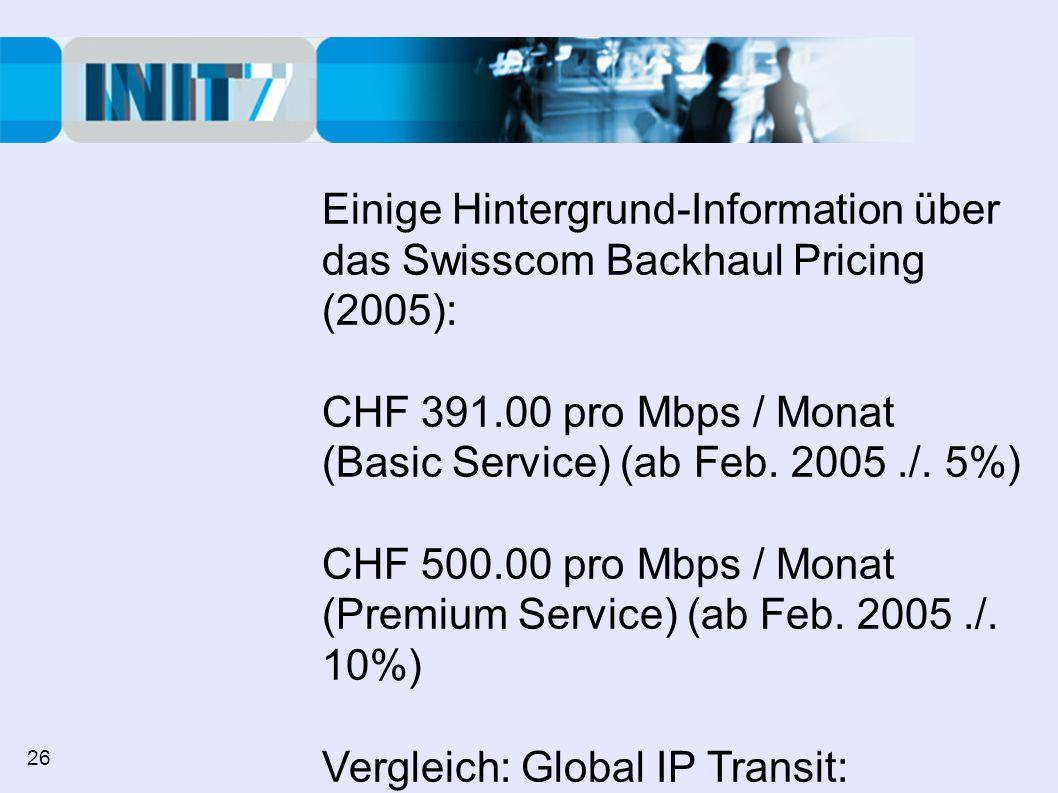 Einige Hintergrund-Information über das Swisscom Backhaul Pricing (2005): CHF 391.00 pro Mbps / Monat (Basic Service) (ab Feb.