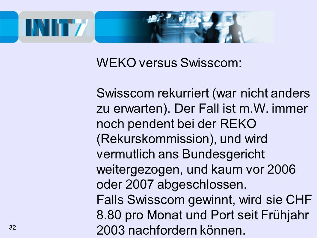 WEKO versus Swisscom: Swisscom rekurriert (war nicht anders zu erwarten). Der Fall ist m.W. immer noch pendent bei der REKO (Rekurskommission), und wi