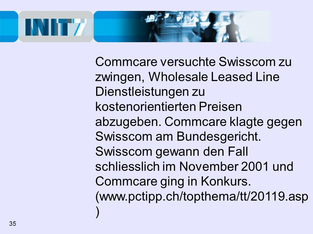 Commcare versuchte Swisscom zu zwingen, Wholesale Leased Line Dienstleistungen zu kostenorientierten Preisen abzugeben. Commcare klagte gegen Swisscom