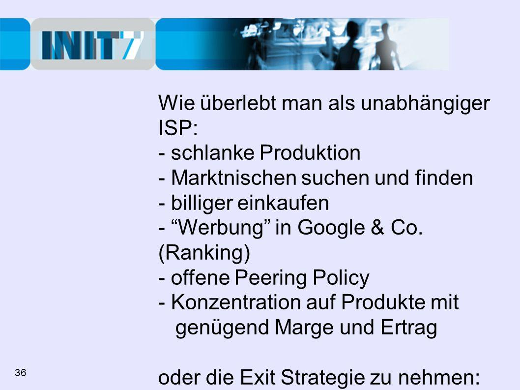 Wie überlebt man als unabhängiger ISP: - schlanke Produktion - Marktnischen suchen und finden - billiger einkaufen - Werbung in Google & Co. (Ranking)
