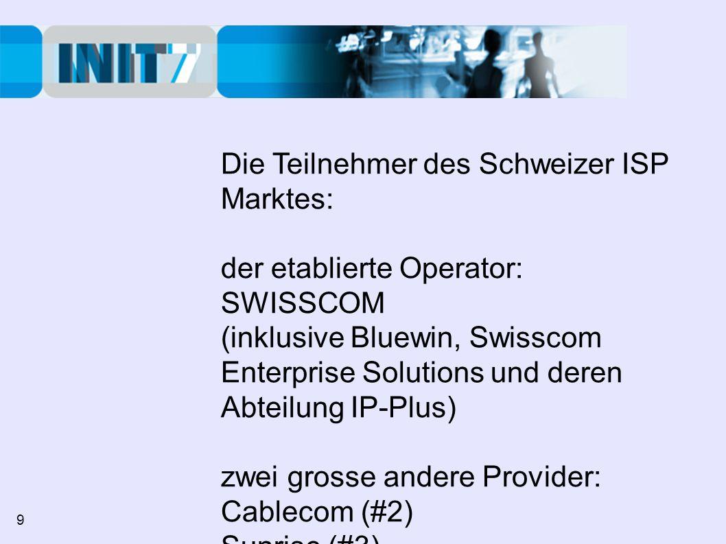 Die Teilnehmer des Schweizer ISP Marktes: der etablierte Operator: SWISSCOM (inklusive Bluewin, Swisscom Enterprise Solutions und deren Abteilung IP-Plus) zwei grosse andere Provider: Cablecom (#2) Sunrise (#3) 9