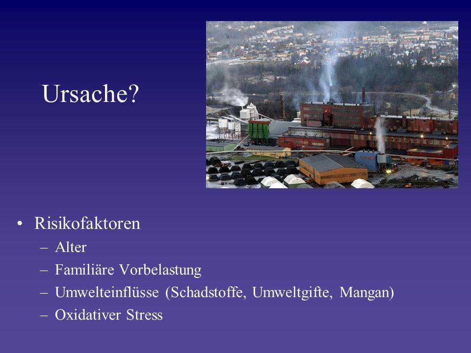 Ursache? Risikofaktoren –Alter –Familiäre Vorbelastung –Umwelteinflüsse (Schadstoffe, Umweltgifte, Mangan) –Oxidativer Stress