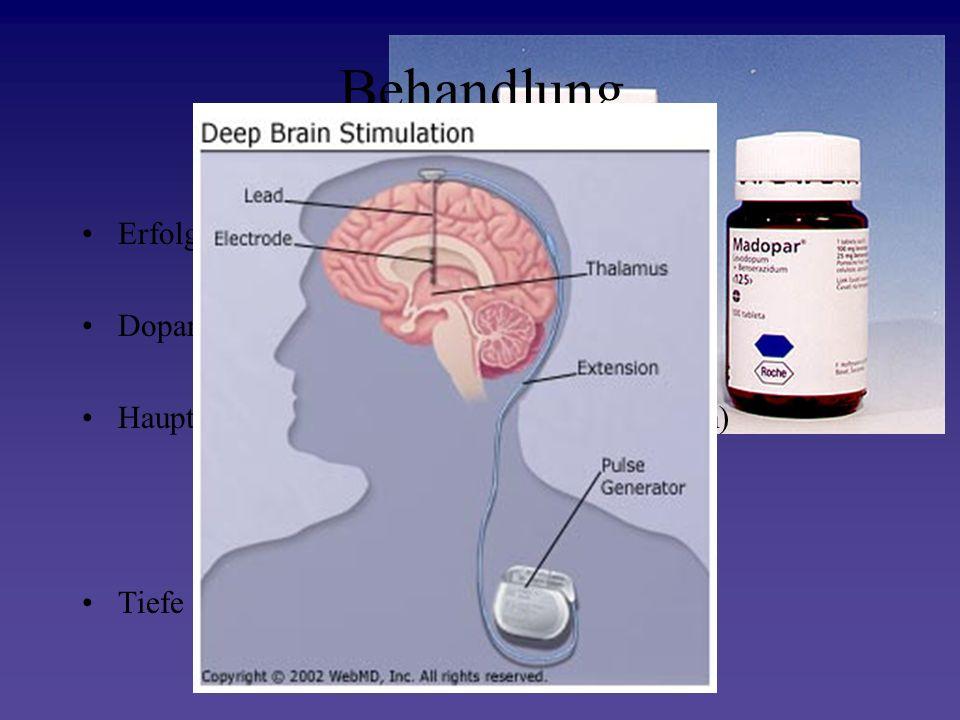 Behandlung Erfolgt symptomatisch Dopaminagonisten Hauptsächlich L-Dopa (Vorstufe von Dopamin) Tiefe Hirnstimulation