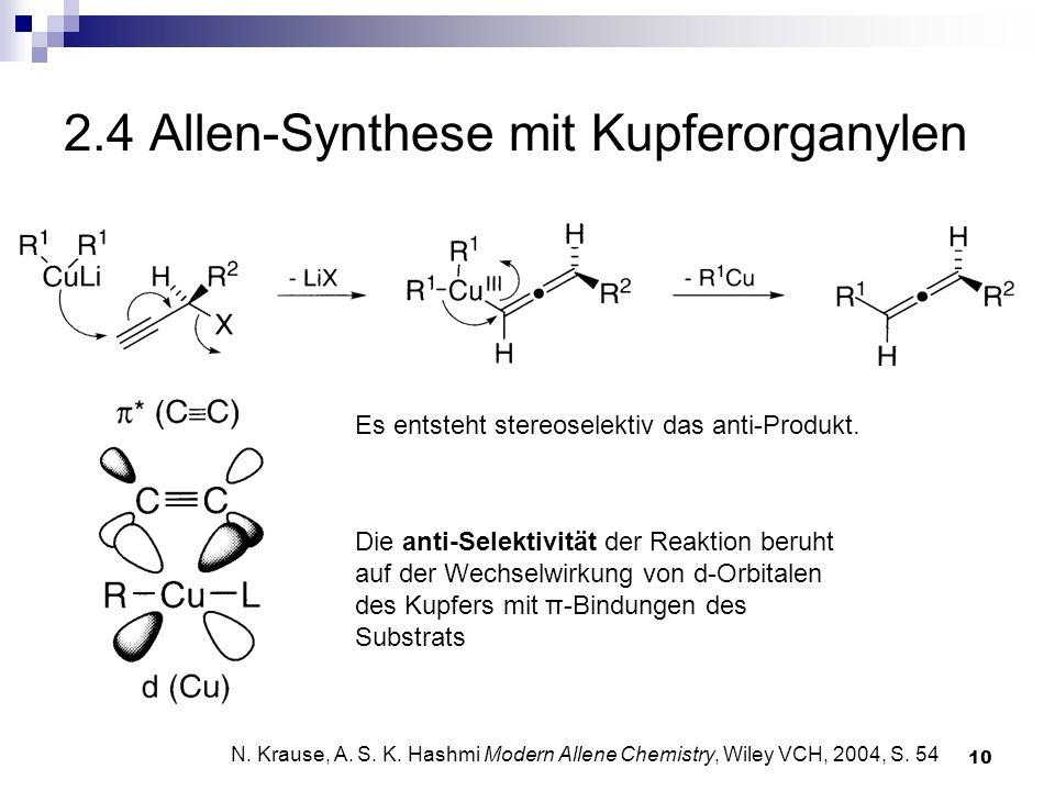 10 2.4 Allen-Synthese mit Kupferorganylen Es entsteht stereoselektiv das anti-Produkt. N. Krause, A. S. K. Hashmi Modern Allene Chemistry, Wiley VCH,