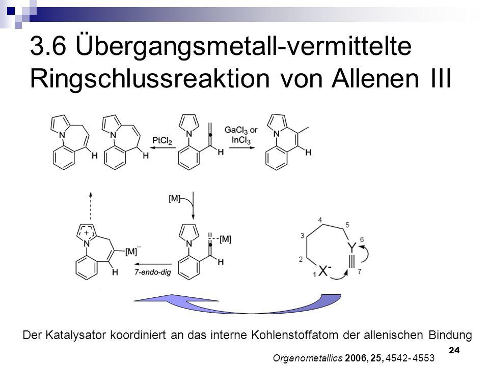 24 Organometallics 2006, 25, 4542- 4553 3.6 Übergangsmetall-vermittelte Ringschlussreaktion von Allenen III Der Katalysator koordiniert an das interne