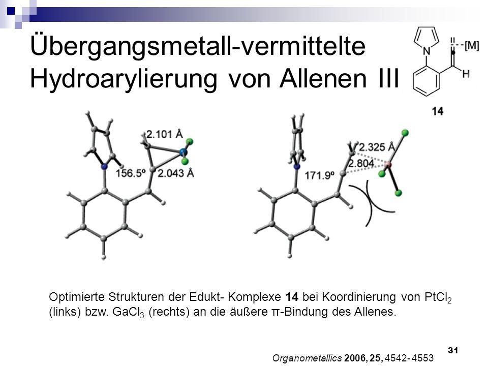 31 Übergangsmetall-vermittelte Hydroarylierung von Allenen III Organometallics 2006, 25, 4542- 4553 Optimierte Strukturen der Edukt- Komplexe 14 bei K